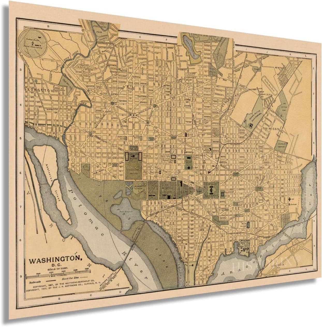 Historix Vintage 1897 Map of Overseas parallel Popular standard import regular item Washington Washingt - Inch DC 18x24