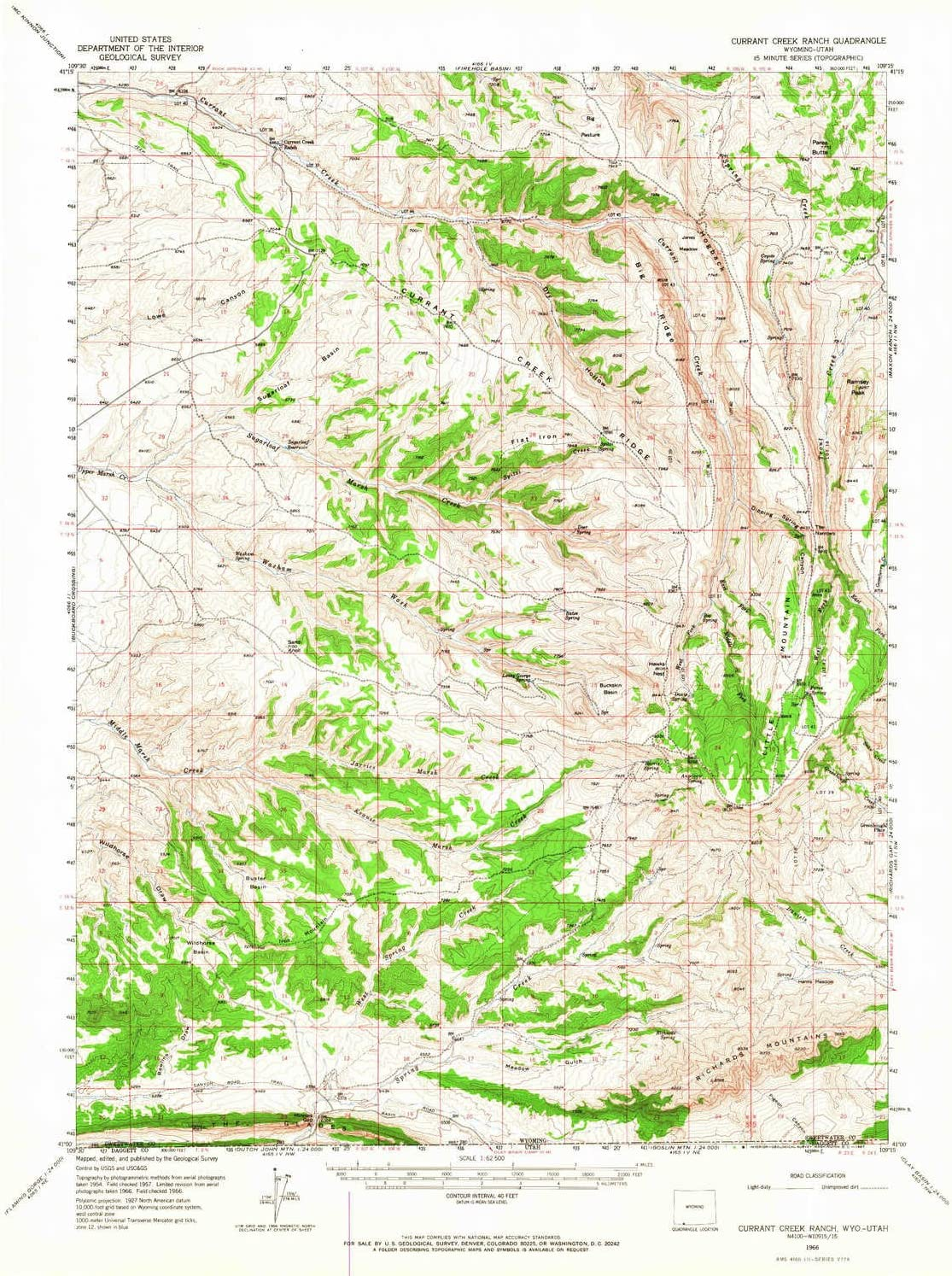 YellowMaps Currant Creek Ranch Bombing free shipping WY topo map wholesale 15 Scale X 1:62500