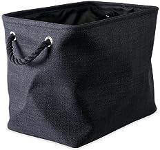 DII Space-Saving Collapsible Variegated Polyester Storage Bin, Large, Black,CAMZ37096