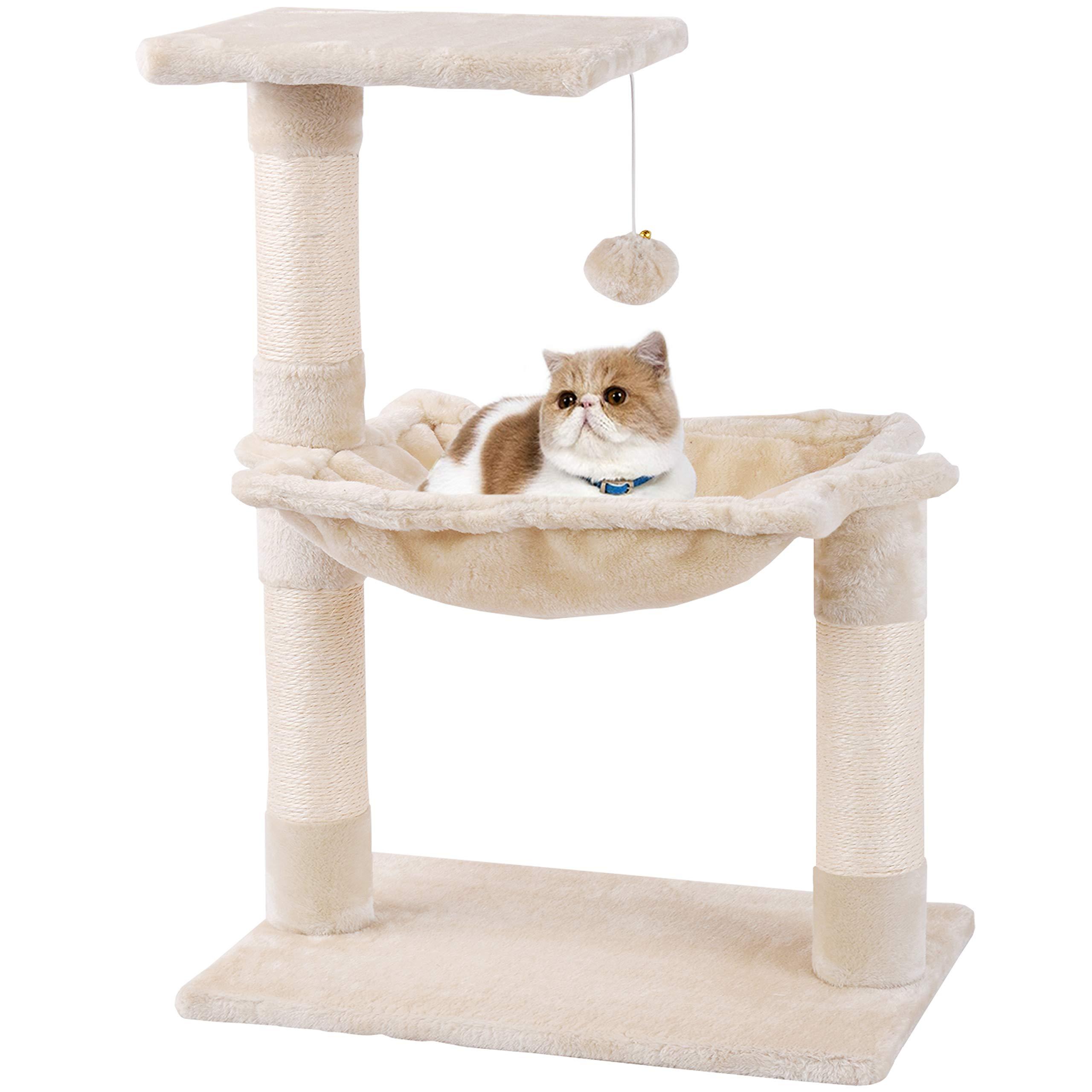 MC Star Árbol para Gato pequeño con Grandes Hamaca Rascador Cama Bolas de Juego Arañazo Plataforma Sisal Natural 70cm, Beige: Amazon.es: Productos para mascotas