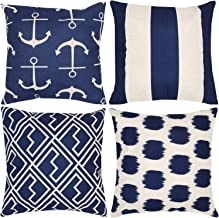 Munzong Decorative Navy Blue Nautical Anchors Beige Background Throw Pillow Covers 18 x 18 Inch Set of 4, Geometric Stripe Dots Shakes Cotton Linen Outdoor Cushion Cover Square Pillowcase Home Decor