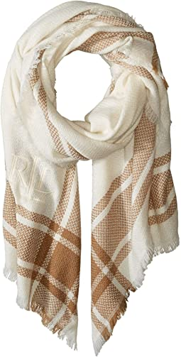 Monogrammed Border Plaid Blanket Wrap