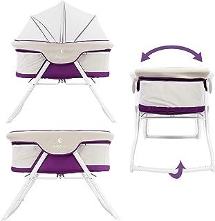 3-in-1 Baby Babybett Beistellbett Reisebett inkl. Moskitohaube, Matratze und Tasche - alle Farben Violett