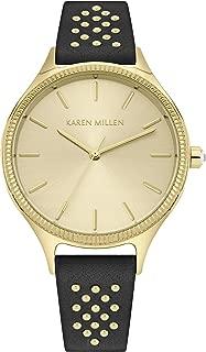 Karen Millen Women's Quartz Watch with Patent Leather Strap, Black, 16 (Model: KM175B)
