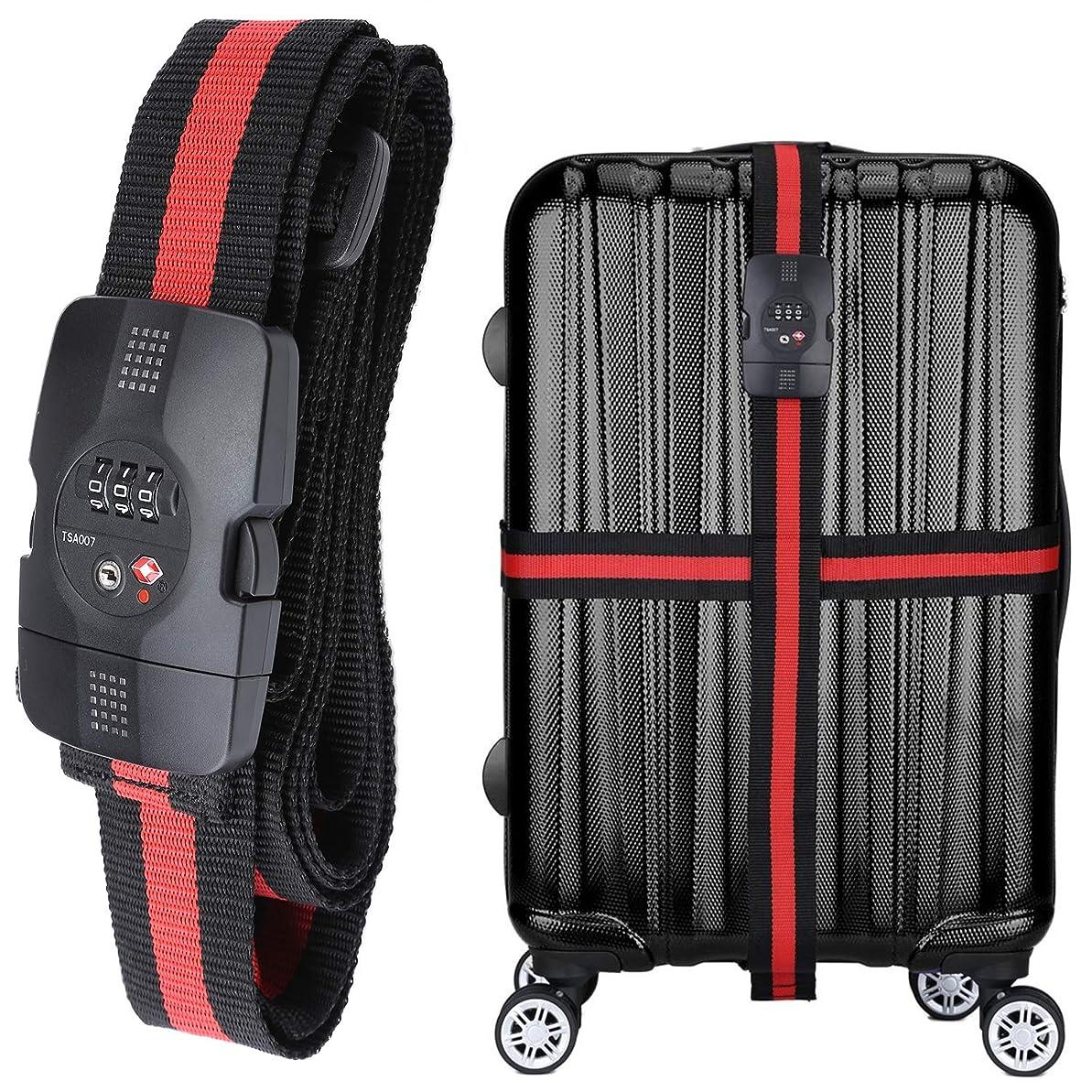 お香虎立方体WindTookスーツケースベルト ダイヤル式 TSAロック付き 荷物梱包バンド 十字型 長さ調整 旅行 海外旅行 出張用 赤×黒のストライプ