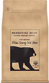 Wandering Bear Extra Strong Organic Coarse Ground Coffee for Cold Brew, 1 lb Bag - Dark Roast, Organic, Smooth, Delicious