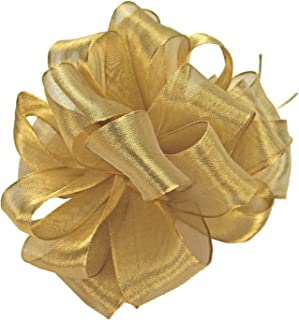 Offray Wired Edge Firefly Metallic Sheer Craft Ribbon, 2-Inch Wide by 15-Yard Spool, Gold