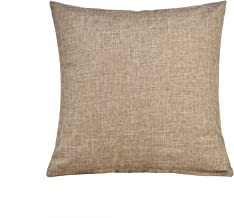 SEEKSEE Solid Color Pillow Covers Shams Burlap Lined Square Throw Pillow Case Cushion Covers for Bench Couch Sofa Living Room (26X26, Brown)