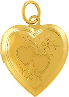Lifetime Jewelry Photo Locket for Women and Girls [ Two Hearts ] - 20X More Real 24k Gold Plating Than Other Heart Locket Necklaces That Hold Pictures - Pendant with or Without 18 inch Link Chain