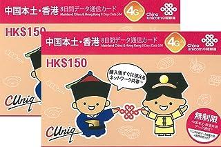 4G高速データ通信 中国本土31省と香港で7日利用可能 プリペイドSIM(セット割引あり) (2GB×2枚)