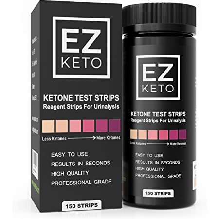 EZ Keto Ketone Testing Strips for Urinalysis with Free App and EZ Keto Start Guide - 150 Test Sticks Measure Ketones. Test if You are in Ketosis. Perfect for Ketogenic Low Carb Paleo & Atkins Diets.