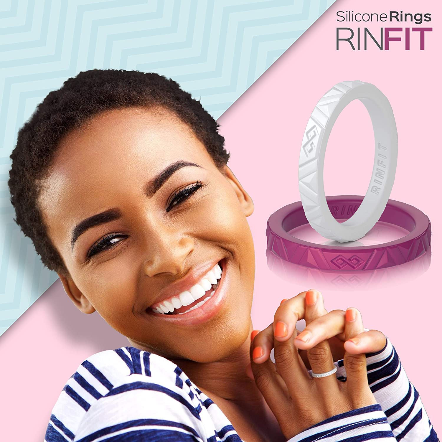 Rinfit Silicone Wedding Ring for Women - Designed, Silicone Rubber Band. Unique Sets of Stackable Engagement Rings. U.S. Design Patent