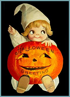 Halloween Scene # 435 Little Girl Witch Pumpkin Counted Cross Stitch Pattern