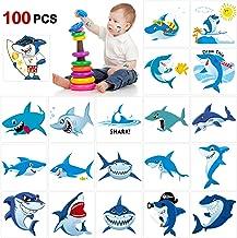 Shark Temporary Tattoos(100pcs),Konsait Shark Tattoo Body Stickers Costume Accessories for Ocean Sea Shark Themed Baby Shower Birthday Party Favor Supplies Decor for Boy Girls Kids Party Bag Filler
