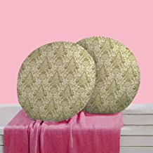 RADANYA Abstract Digitally Printed Round Cushion Cover Pillow Case Home Décor Set of 2,16 Inches,Olive