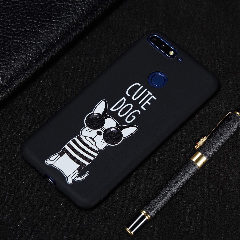 Tasse ChoosEU Souple Coque pour Huawei Y6 2018 Etui Soft /Étui Ultra Fine Antichoc Housse Mince Case Protection Honor 7A Silicone Noir Motif Swag pour Filles Femmes Homme