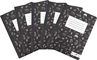 Yoobi Composition Notebook 5-Pack | Black & White Doodles Design | College Ruled Journal | 100 Lined Sheets