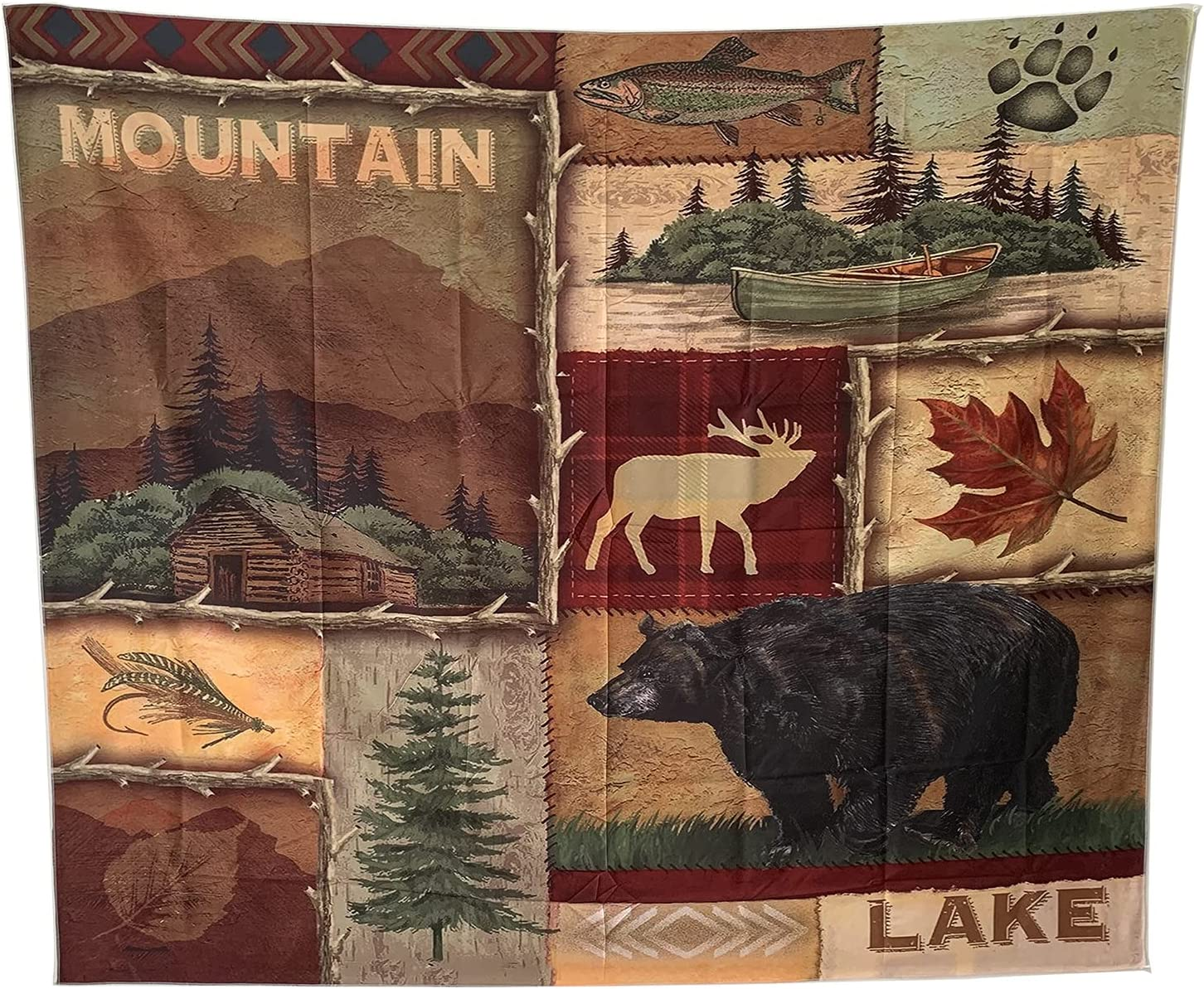 Rustic Lodge Bear Moose Deer Wall Hanging Tapestry, Living Room Dorm Bedroom Decorative Tapestry, Wall Home Decor Art Tapestry, Polyester (51.2x59.1 Inches/130x150 cm)