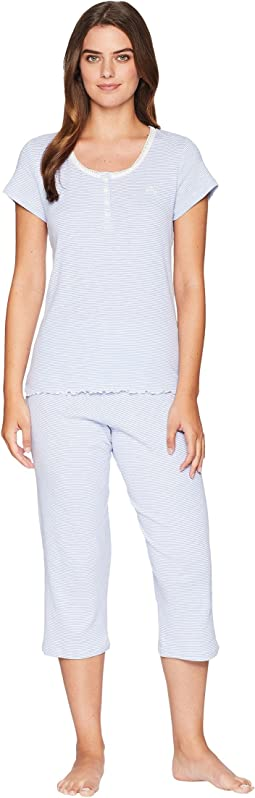 Lace Neck Capris Pajama Set