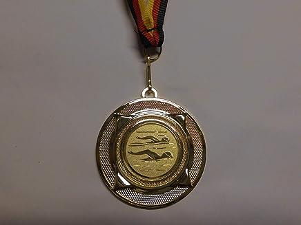 mit Alu Emblem 25mm - Farbe: Gold aus Metall 50mm Volleyball mit Einem Emblem e277 inkl Fanshop L/ünen 10 St/ück Medaillen Medaillen-Band