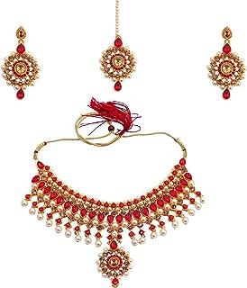 Ethnic Red Kundan and Pearl Wedding Jewellery Necklace Set With Earring, Maangtikka For Women