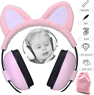 Baby Ear Protection Ear Muffs for 3 Months to 2+ Years Noise Reduction Hearing Protection for Infant and Toddlers with Cat Ear. (Pink)