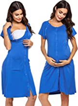 Ekouaer 3 in 1 Nursing Dress Maternity Nightgown Labor/Delivery Breastfeeding Birthing Gown with Button