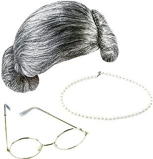 3 Pieces Grey Wig Grandma Wig Granny Glasses Artificial Pearl Necklace Fancy Dress Accessories