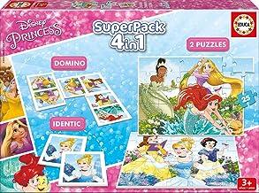 Educa - Superpack juegos Princesas Disney, contiene 2 puzzles, 1 juego de memoria y 1 domino, a partir de 3 años (17198)