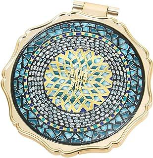 (アナスイ) ANNA SUI ラグジュアリー ビューティー ミラー 鏡 コンパクト大きめ ピーコックブルー エキゾチック クリスタル モザイク ゴールド