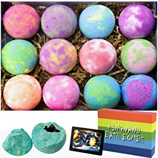 Bath Bombs Gift Set 12, Fizzes Bathbombs with Puzzles Inside Toys for Kids, Bubble Bathbombs with Coconut Oil, Gifts for W...