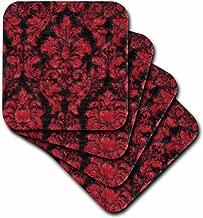 3dRose cst_62562_3 Victorian Red N Black Damask-Ceramic Tile Coasters, Set of 4