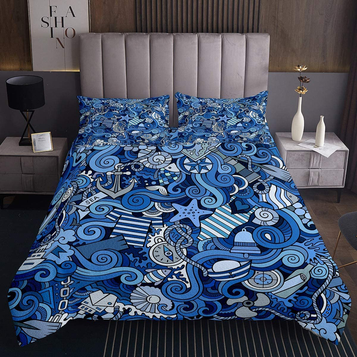 40% OFF Cheap Sale Max 61% OFF Hip Pop Starfish Water Weed Bedspread Fish Conch Set Quilt Queen