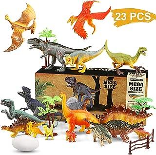 Magicfun 23 Piece Dinosaur Toy Set Realistic Jurassic World Dinosaur Figures Educational Dinosaur Toys for Kids 3+ ( Trees,Dinosaur Eggs, Fence Kit Included)