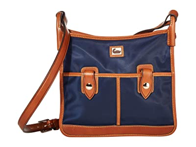 Dooney & Bourke Camden Double Pocket Crossbody (Navy/Dark Chocolate Trim) Cross Body Handbags