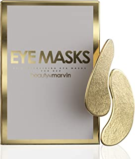 Beauty by Marvin Premium Under Eye Masks - Revitalizing Hydrogel Under Eye Patches for Puffy Eyes, Under Eye Bags Treatment, Anti-Wrinkle, Undereye Dark Circles Treatments – 14 Pairs (Single, Gold)
