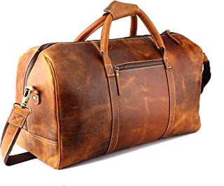 Genuine Vintage Men's Duffel Sports Gym, Travel, Carry-on Luggage Bag, Cinnamon Brown