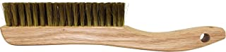 Osborn 54036 Plater's Fine Solid Wood Block Wire Scratch Brush with Long Curved Handle, Fine Brass Wire Bristle, 5-3/4