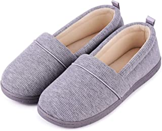 Ladies' Memory Foam Comfort Cotton Knit House Shoes Light Weight Terry Cloth Loafer Slippers w/Anti-Skid Rubber Sole