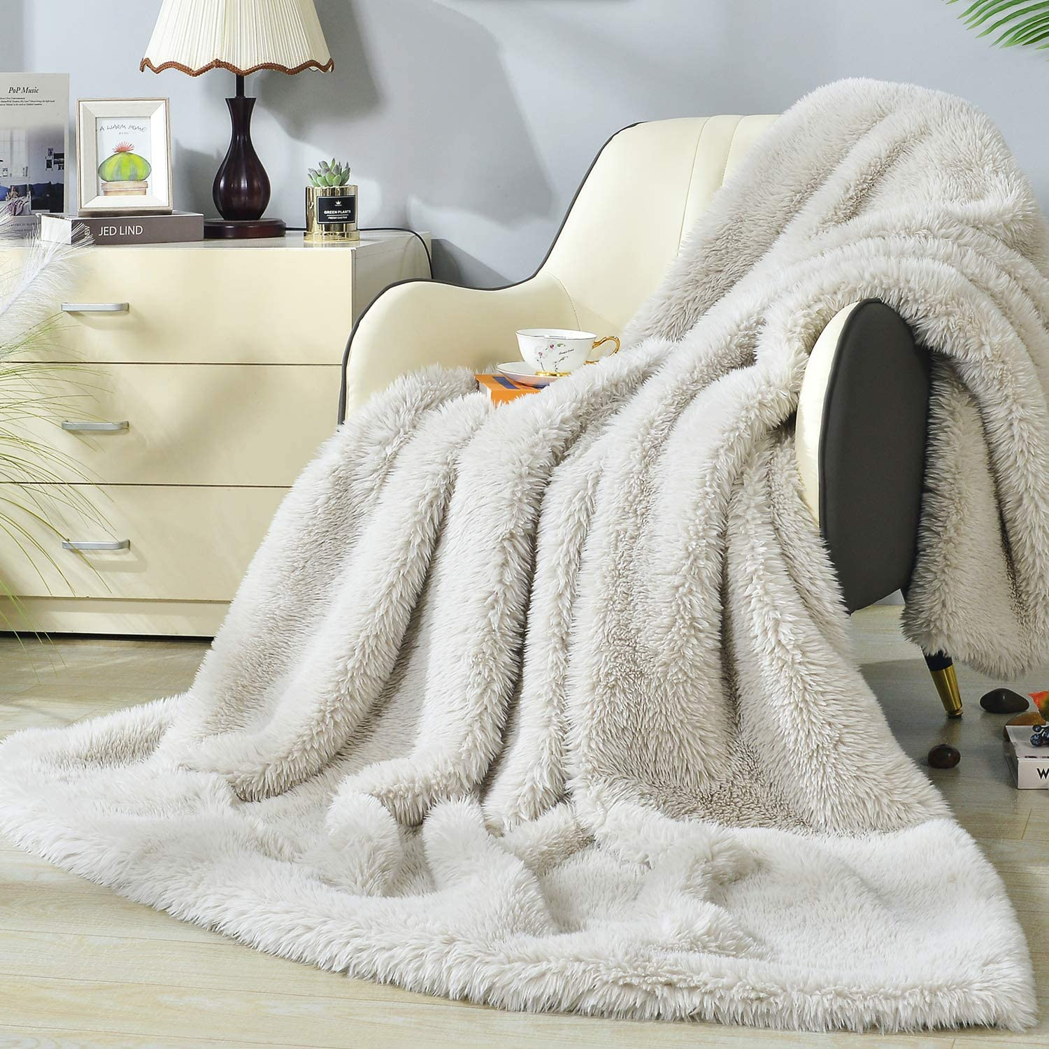DECOSY Ultra Soft Faux El Paso Mall Fur Solid Throw Blanket Reversible Selling Color