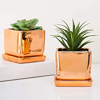 MyGift Set of 2 Square 4-Inch Rose Gold-Tone Ceramic Mini Planters with Trays