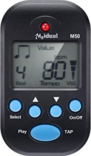 Mini Digital Metronome, Multifunctional, Portable, Volume Adjustable, Clip on, with Speaker, Beat Tempo, with Battery for Piano, Guitar, Saxophone, Flute, Violin, Drum (Black)