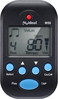 Mini Digital Metronome, Multifunctional, Portable, Volume Adjustable, Clip on, with Speaker, Beat Tempo, with Battery for Piano, Guitar, Saxophone, Flute, Violin, Drum (1, Black)