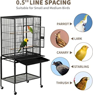 SUNCOO 53 in Large Flight Cage with Detachable Stand,Wrought Iron Heavy Duty Bird Cage for Parrot Budgie Parakeet Cockatoo Wooden Perch Storage Shelf Rolling Wheels, Big Metal Bird Aviary Cage Black