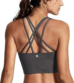c4d1f8e5ac1de CRZ YOGA Women s Medium Support Strappy Back Wirefree Removable Cups  Longline Yoga Sports Bra