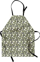Lunarable Botanical Apron, Common Juniper Tree Branch Hand Drawn Art Illustration, Unisex Kitchen Bib with Adjustable Neck for Cooking Gardening, Adult Size, Olive Green Khaki Ceil Blue and White