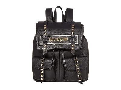 LOVE Moschino Studded Logo Backpack (Black/Black Natural Grain Mix Calf) Backpack Bags