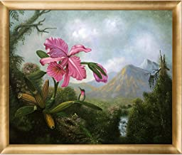 """overstockArt Orchid and Hummingbird Near a Mountain Waterfall, 1902 with Gold Luminoso Framed Oil Painting, 27"""" x 23"""", Mul..."""