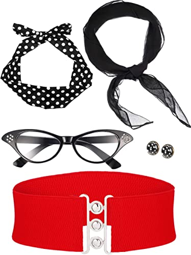 Zhanmai 50's Costume Scarf Polka Dot Headband Earring Cat Eye Glasses Waistband