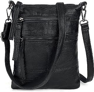 UTO Women Small Crossbody Bag Roomy Multi Pockets Cell Phone iPad-Mini Kindle Holder Shoulder Purse Wallet Bags Black